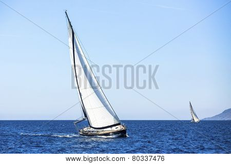 Sailing boat in the sea. Luxury Yachts.