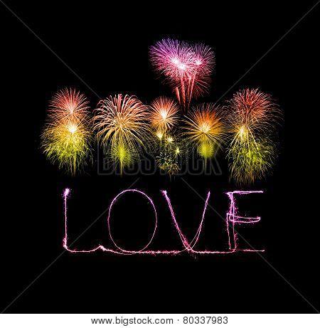 Love Sparkler Firework Light Alphabet With Fireworks