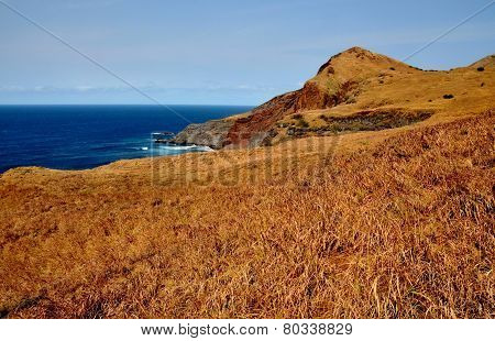Dry Landscape Over Blue Ocean