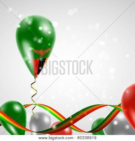 Flag of Zambia on balloon