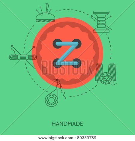 Flat vector illustration for handmade. Red button
