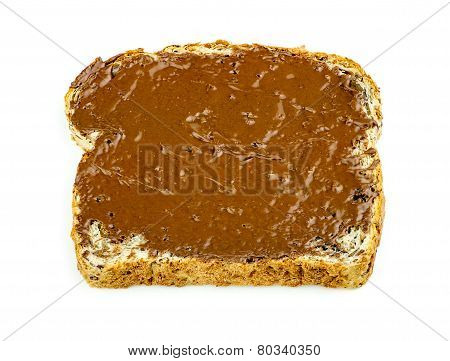 Chocolate Hazelnut Spread On Whole Wheat Toast Isolated