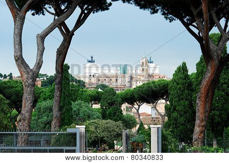 View Of Vittorio Emanuele Monument In Rome City