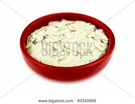 Bowl Of Uncooked Puffed Rice Poha Isolated