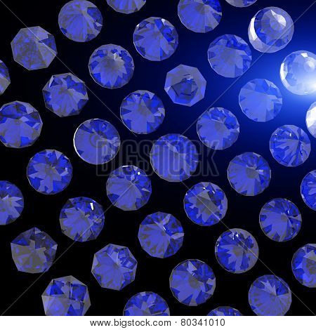 Round shape gemstone. Collections of jewelry gems on black. sapphire