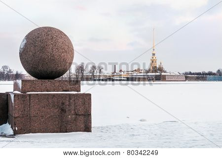 Peter And Paul Fortress In St. Petersburg In Winter