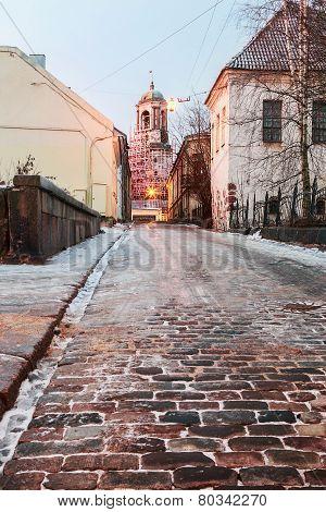 Old Streets Of Vyborg At Dawn