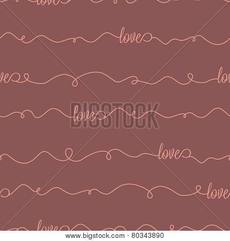 Vector seamless pattern with lettering love