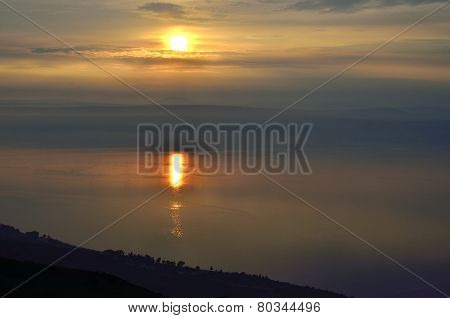 Sunset Over Kinneret Lake, Israel.