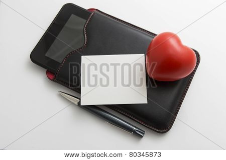 Cyber Love Concept With Tablet, Heart And Pen