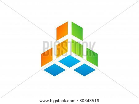 cube,construction,logo,geometry,box3D,square,finance,company modern business
