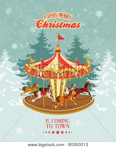 Christmas card with vintage merry-go-round