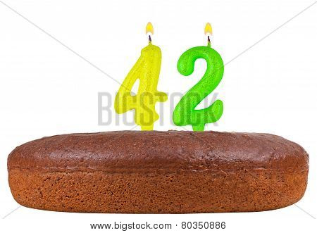 Birthday Cake With Candles Number 42 Isolated