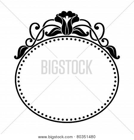 decorative oval frame with floral pattern