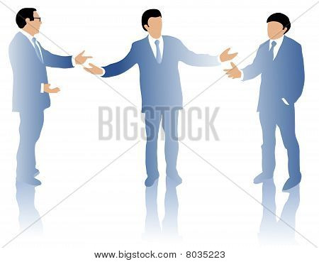 Three business men debating