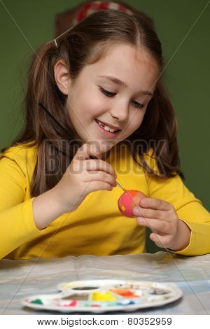 Girl Painted Easter Eggs
