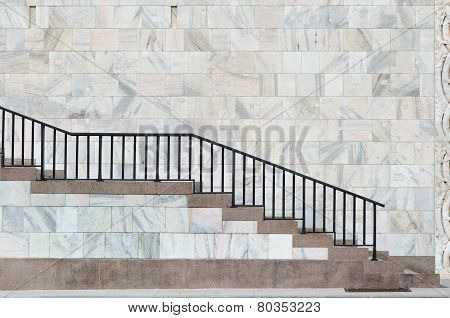 Marble And Red Stone Stair In Milan Near The Cathedral