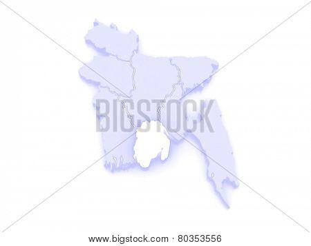 Map of Barisal. Bangladesh. 3d