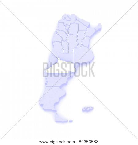 Map of Rio Negro. Argentina. 3d