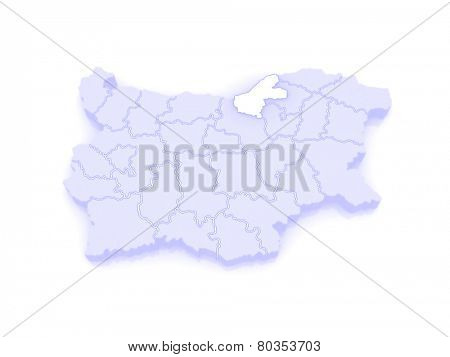 Map of Ruse region. Bulgaria. 3d