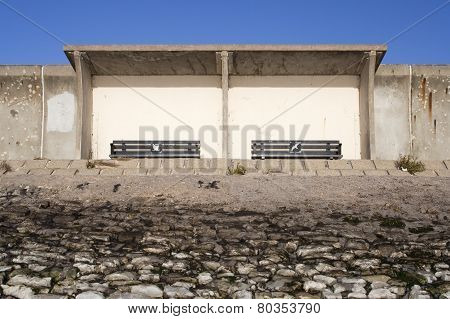 Shelter On The Sea Wall, Canvey Island, Essex, England