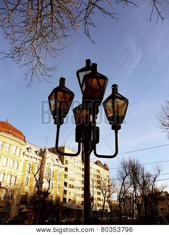 Street lamp in center of Lviv