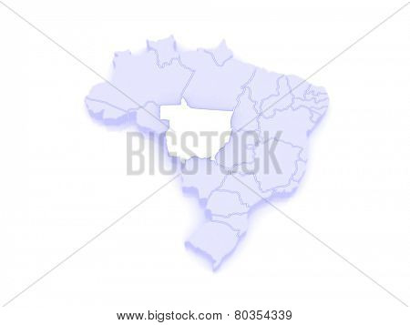 Map of Mato Grosso. Brazil. 3d