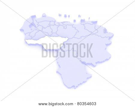 Map of Apure. Venezuela. 3d