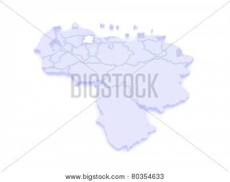 Map of Yaracuy. Venezuela. 3d