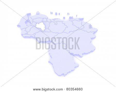 Map of Portuguesa. Venezuela. 3d