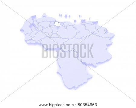 Map of Carabobo. Venezuela. 3d