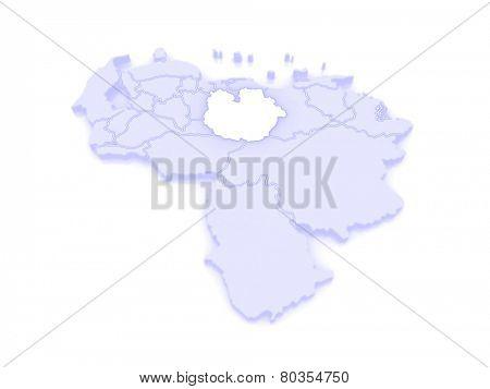 Map of Guarico. Venezuela. 3d