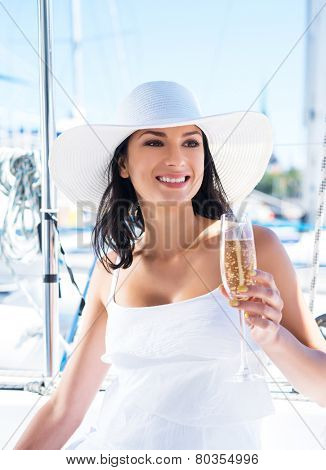 Beautiful woman with a glass of drink