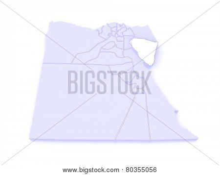 Map of South Sinai (Ganub Sina). Egypt. 3d