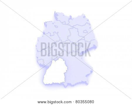 Map of Baden-Wurttemberg. Germany. 3d