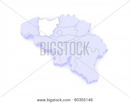Map of East Flanders. Belgium. 3d
