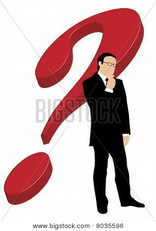 Businessman in front of question mark
