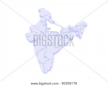 Map of Uttar Pradesh. India. 3d