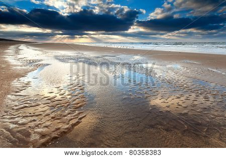 Low Tide At Sunset On North Sea