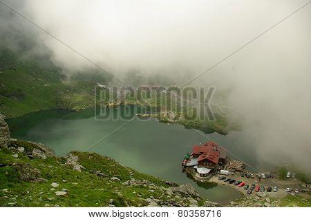 Glacial Balea Lake on Transfagarasan. Carpathians Mountains, Romania
