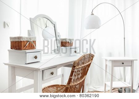 White Dressing Table With Wicker Elements