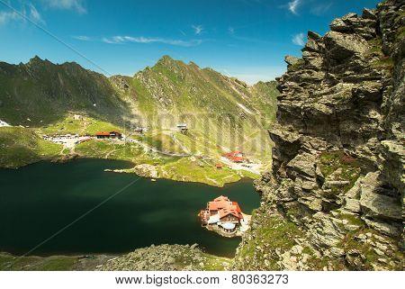 Glacial Balea Lake on Transfagarasan. Carpathians Mountains