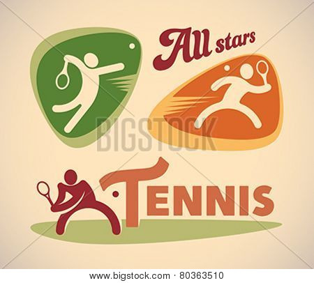 Set of vintage styled tennis labels. Editable vector illustration.