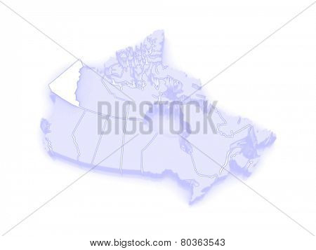Map of Yukon. Canada. 3d