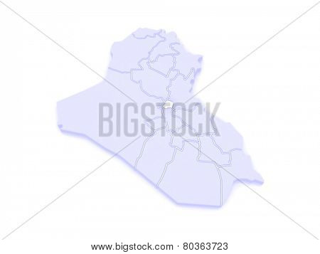 Map of Baghdad. Iraq. 3d