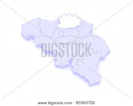 Map of Antwerp. Belgium. 3d
