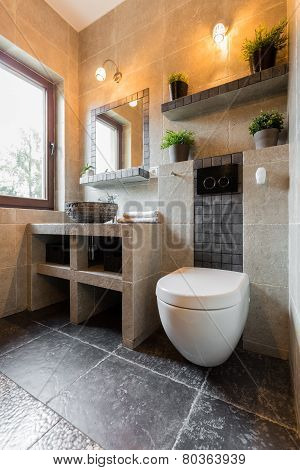 Interior Of Bathroom With Toilet