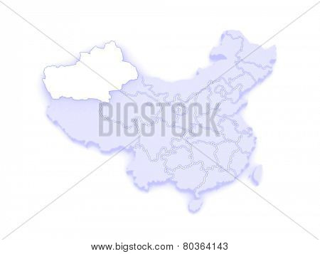 Map of Xinjiang Uygur. China. 3d