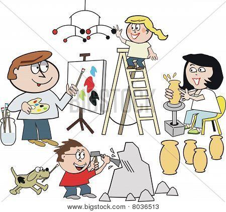 Family artist cartoon