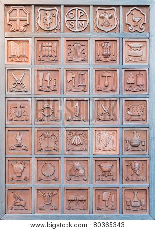 Bulletin Board With Terracotta Professions..orvieto Italy